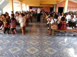 Installation of ceramic tiles in Ban Mhai Pattanà School