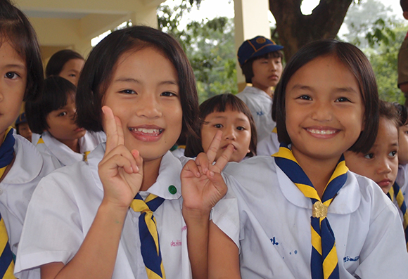 Students in a hill tribe village in Northern Thailand
