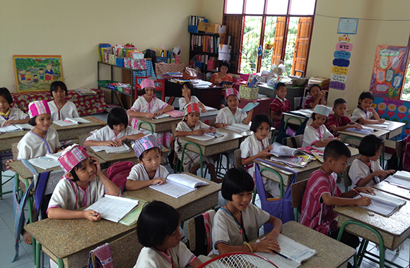 Primary School children in one of the schools built by the Foundation