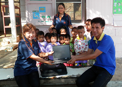 Laptop donations by Intel in Singapore and to village teachers.