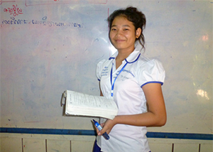 Student beneficiary in classroom