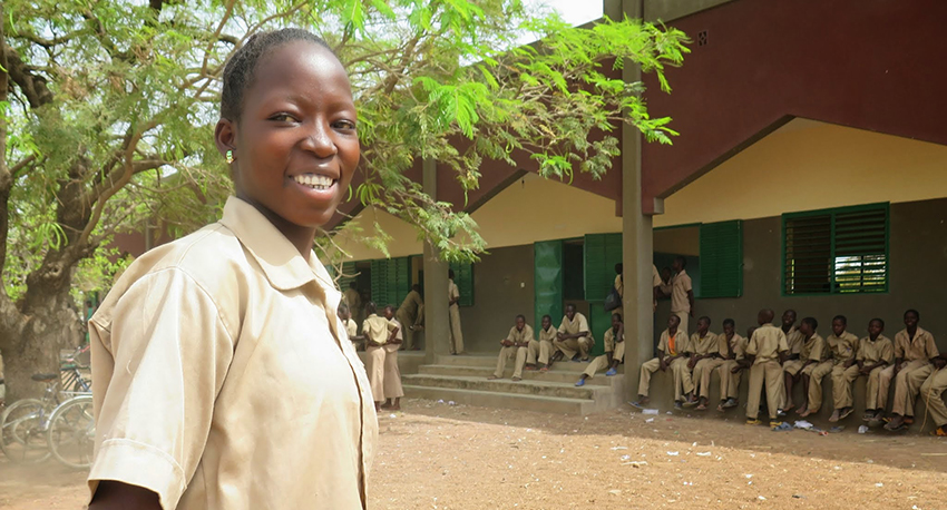 Kabore at Sogpelcè Secondary School Classroom Building Block The School was built by the Pistorio Foundation in 2009