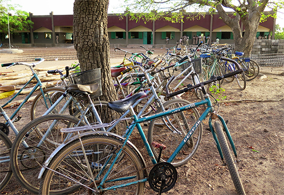 Many students are provided with bicycles to reach the secondary school