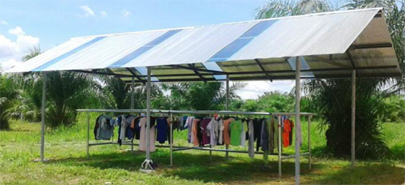 Shelter for drying clothes built by Professional School students during school holidays