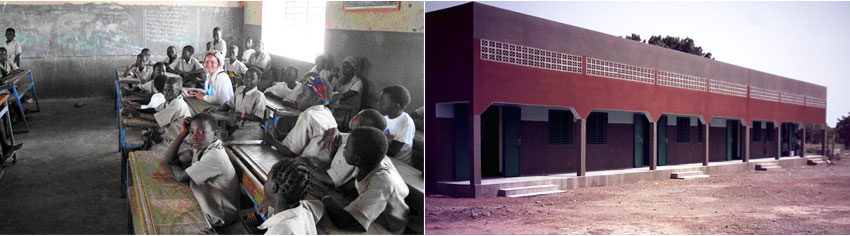 Francesca Ferrari at the Nibagdo Primary School Nibagdo primary school that the Foundation expanded in 2006 adding two classrooms, sanitation facilities, kitchen and hangar, and where the Foundation sponsors the education and primary health care of 68 children.