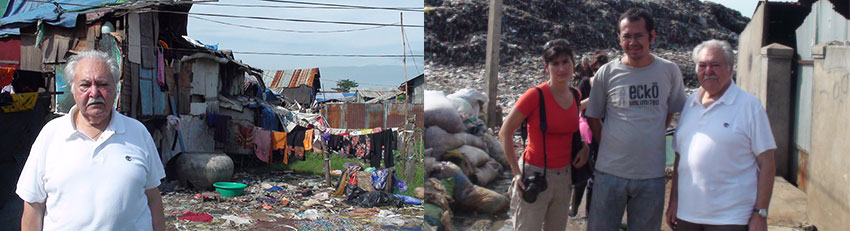 Pasquale Pistorio and volunteer Ariane Roulet Magidis visiting families of sponsored children at the dump of Stung Mean Chey, accompanied by PSE Director Mr. Sarapich.