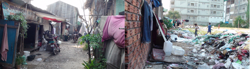 Slums of Phnom Penh in which some of our beneficiaries' families live